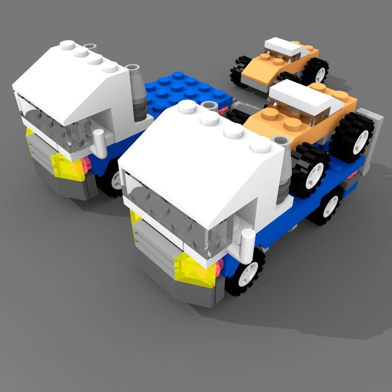 lego flatbed truck 3d model