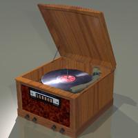 radio phonograph antique 3d 3ds