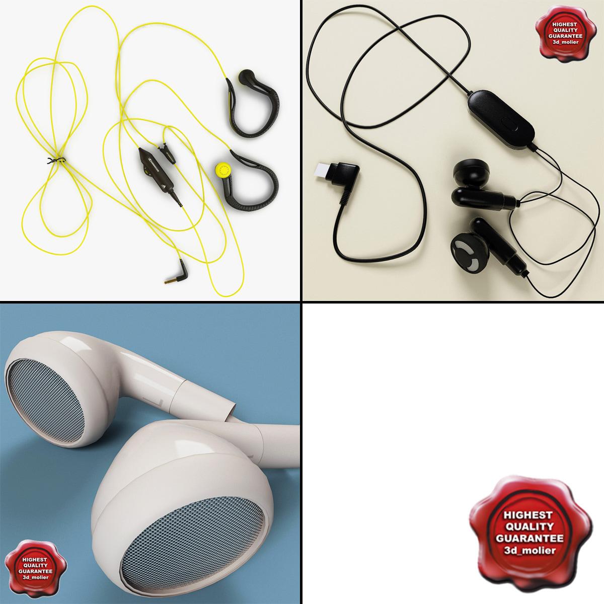 3d model earphones set modelled