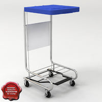 3d model mobile hamper stand