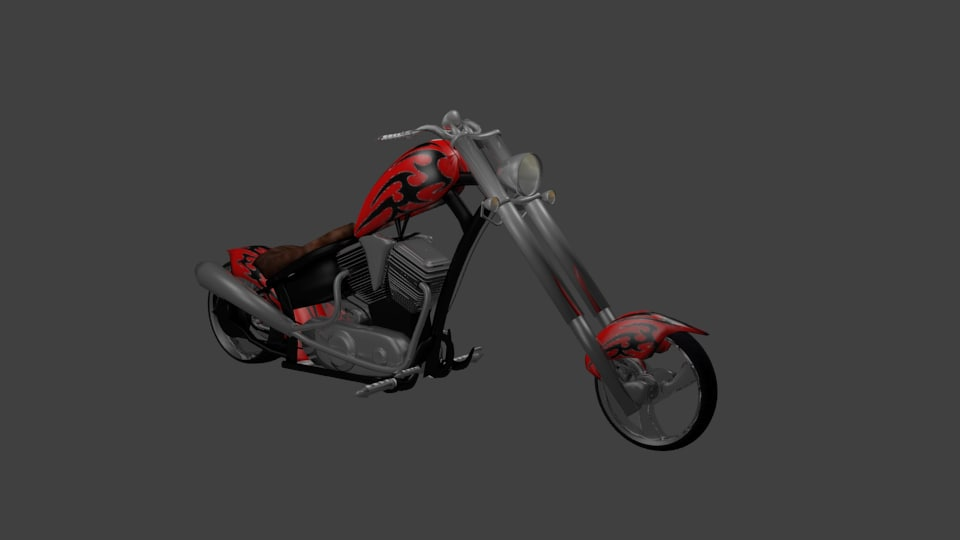 3d red chopper motorcycle tribal