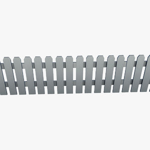 resolution white picket fence 3d model