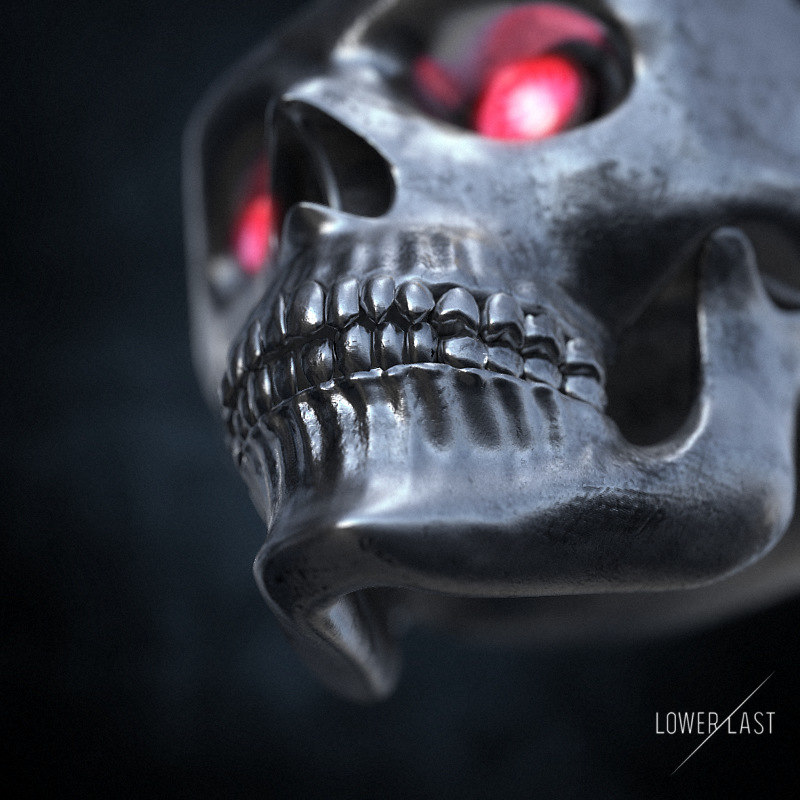 metal skull 3d obj