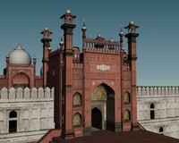 3d old baadshahi masjid model