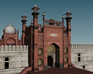 3d old baadshahi masjid model