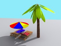 3d model deck chair deckchair