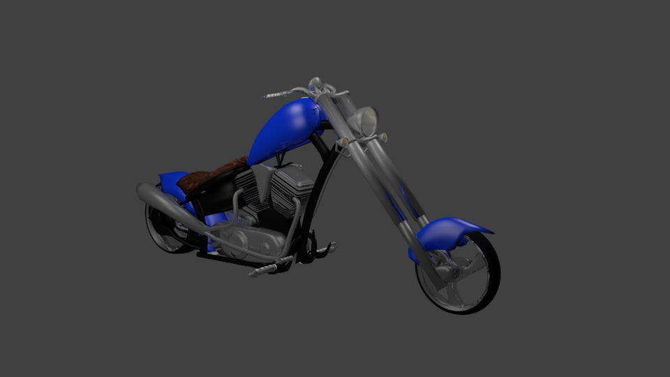 3ds blue chopper motorcycle