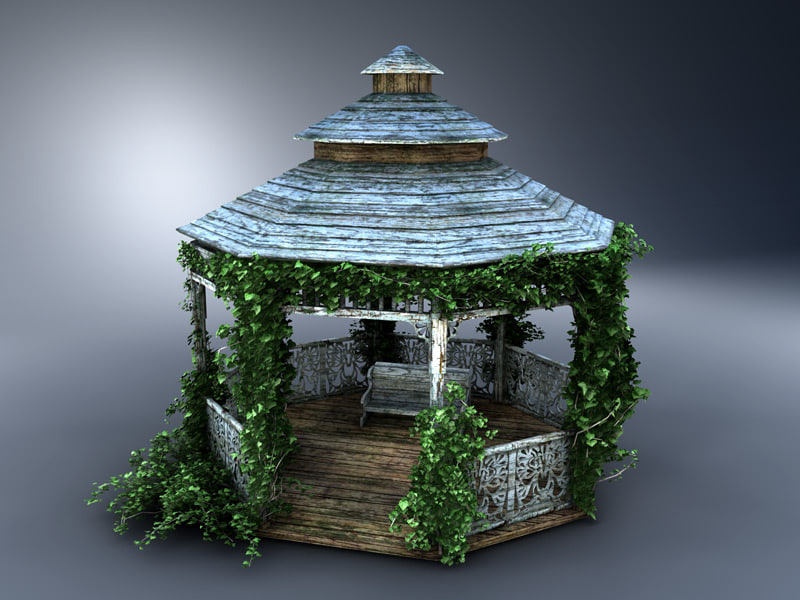 3d old wooden gazebo model