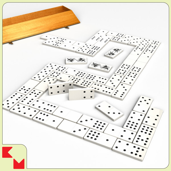3d model 0-9 domino set