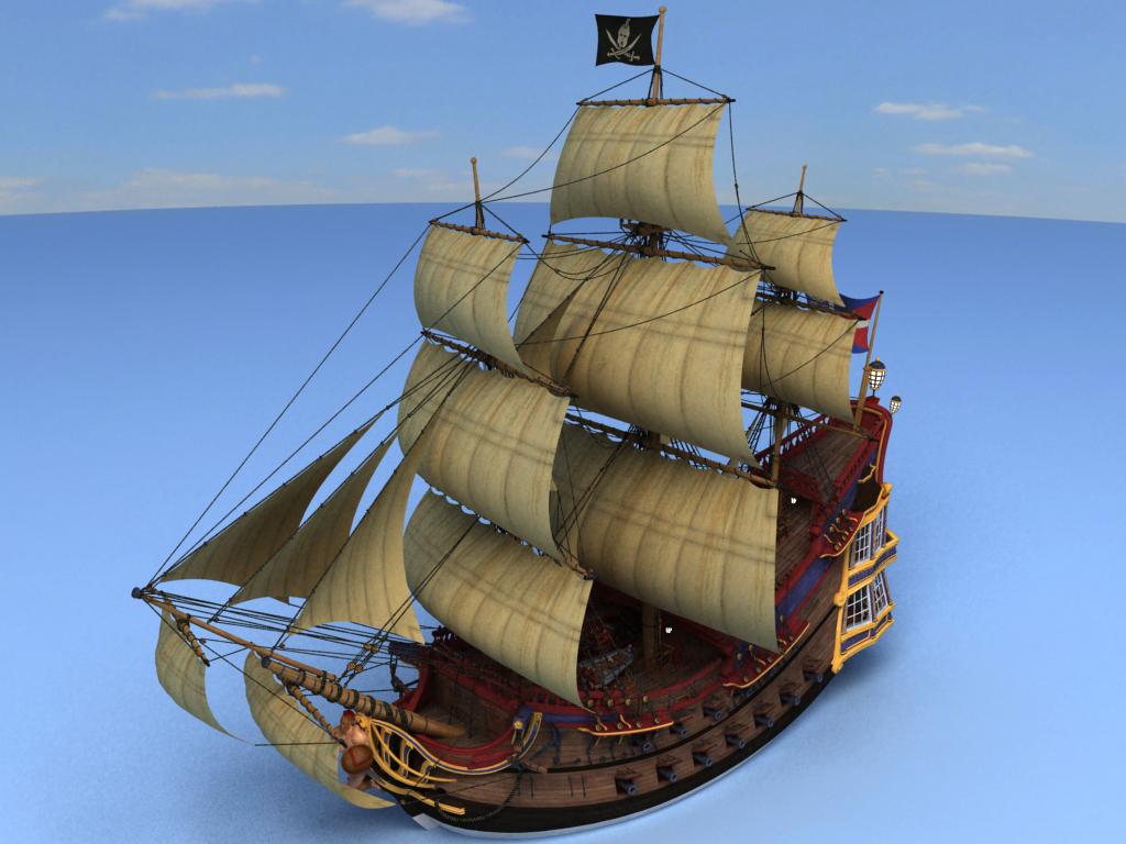 3d model pirate ship decks