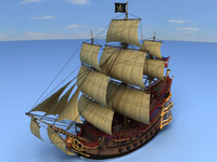3d model pirate ship decks