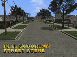 3d details suburb street scene