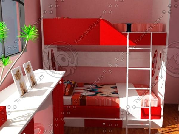 kids bed room 3d model