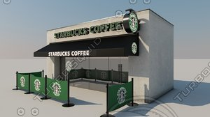 3d starbucks coffee shop model