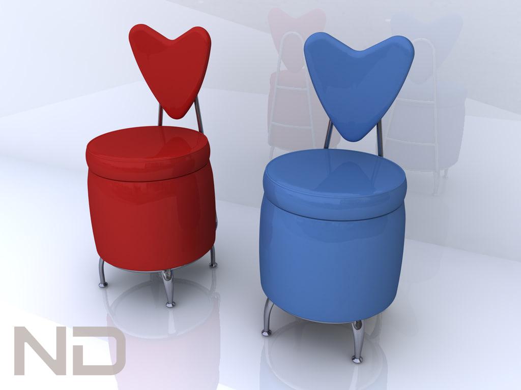& 3d heart puff chair model