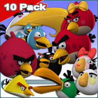 angry birds 10 pack 3d model