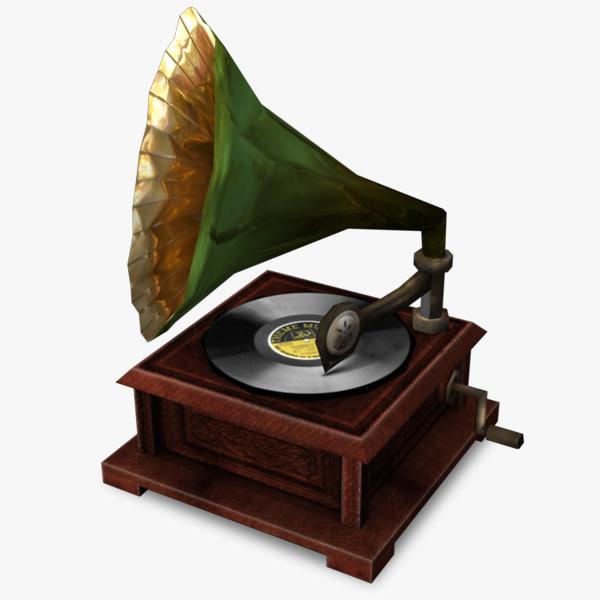 3d model gramophone real time