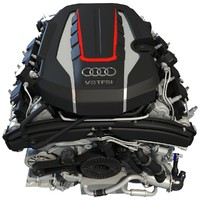 3d model audi s8 tfsi v8 engine