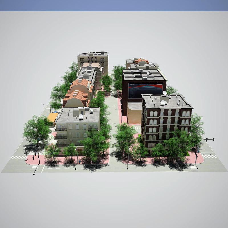 realistic hd city block 3d model