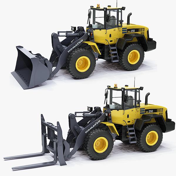 3d wheel loader komatsu wa250 model