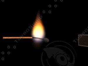 3d model matchstick flame