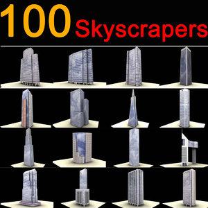 100 buildings skyscrapers 3d model