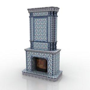 3d model fireplace gzhel