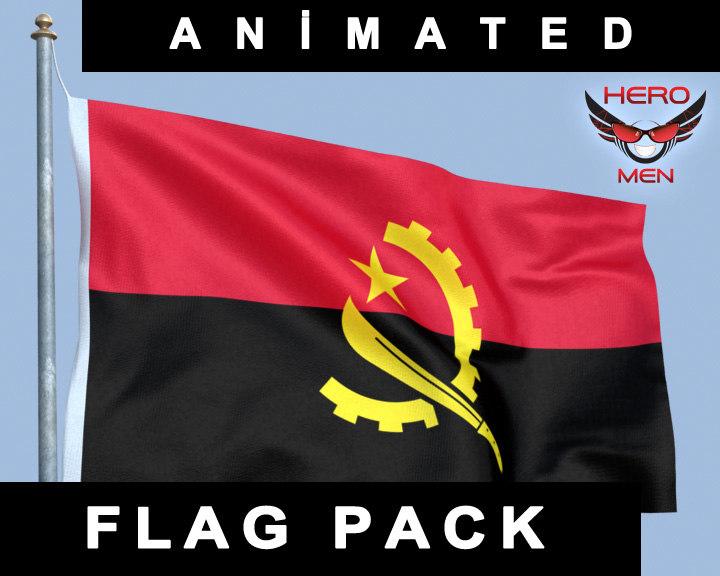 flag angola 3d model