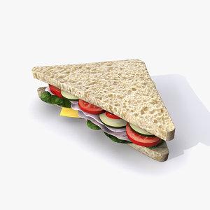 3d sandwich ham cheese model