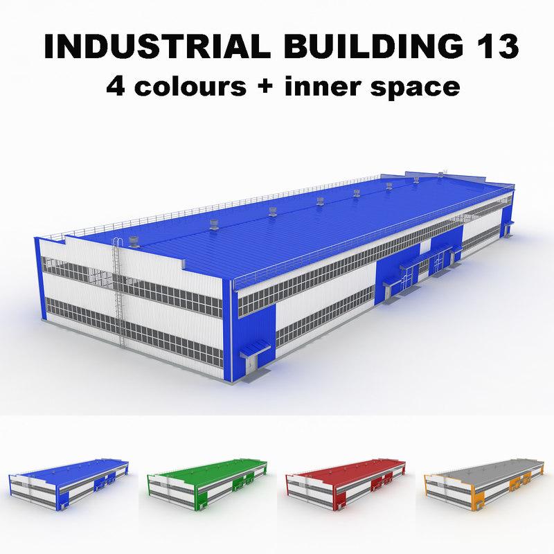 3d model large industrial building 13