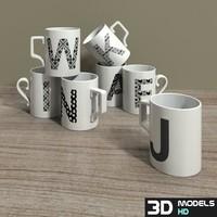 letter mugs 3d model