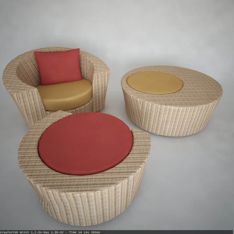 outdoor lounge chair footstool 3d model