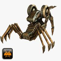 sci-fi attack droid 3d obj