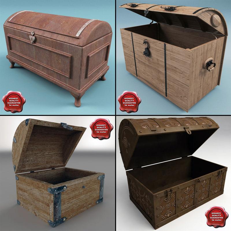 3dsmax chests set modelled
