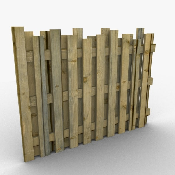 Wooden fence 3d model for 3d fence