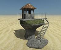3d hut stone model