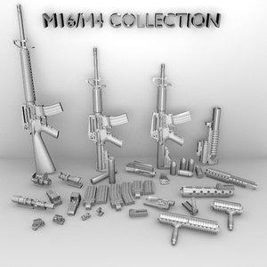 3d model m16a3 m4 accessories m16 m203
