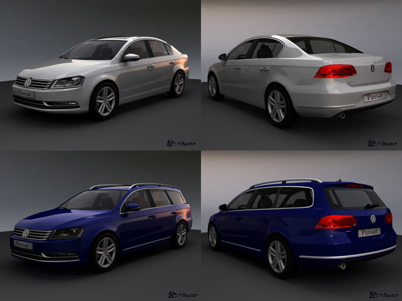 3d volkswagen passat sedan model