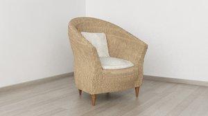 3d wicker armchair