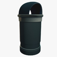 bin trashcan receptacle 3d max