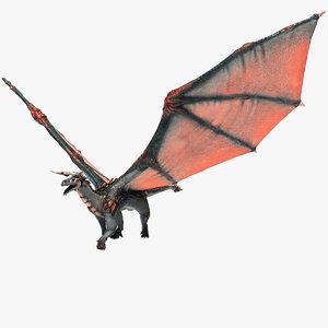 3d model realistic volcano dragon pose