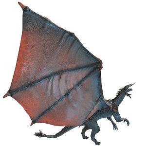 3d model realistic volcano dragon rigged