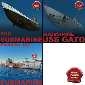 3d ww2 submarines 2 model