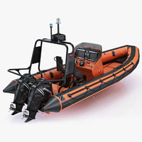3d model inflatable lifeboat zodiac engine