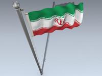 3d official flag iran model
