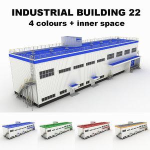 medium industrial building 22 3d model