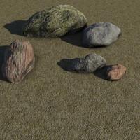 rock boulder 3d max
