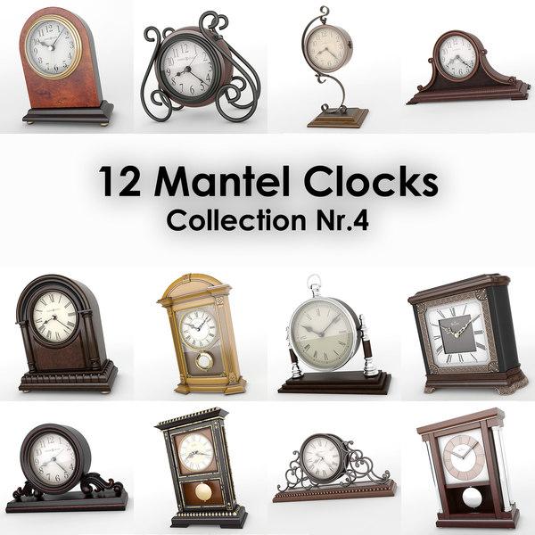 12 mantel clocks 3d max
