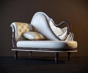 classic sofa couch grande 3d model