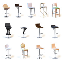 Collection of photorealistic bar chairs